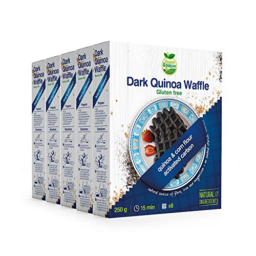 Veggie&Nature - Mezcla oscura para gofres de quinua, sin gluten (5 x 250 g)