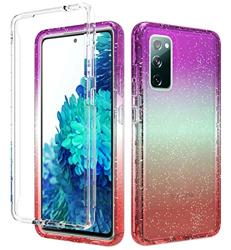 iRunzo 2 in 1 Cover for Samsung Galaxy S20 FE 5G Case Glitter Color-Changing Soft TPU + PC Bumper 360° Full Body Protect (Red/Lila)