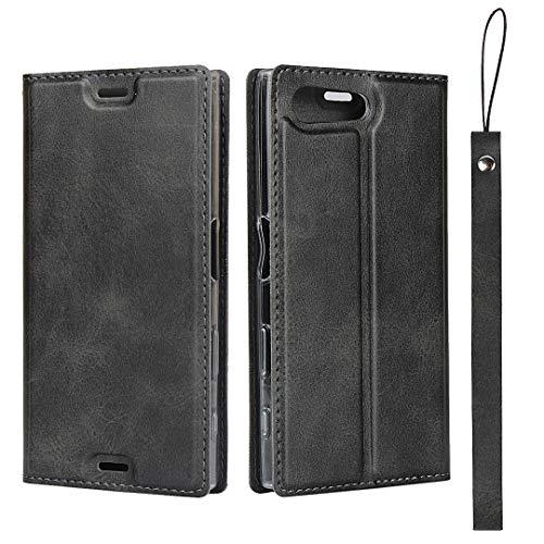 Hülle für Sony Xperia X Compact/Xperia X Mini, SONWO Ultra dünn PU Ledertasche Flip Brieftasche Handyhülle für Sony Xperia X Compact/Xperia X Mini, mit Karteneinschub und Magnetverschluss, Schwarz