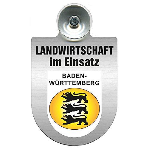 Einsatzschild für Windschutzscheibe incl. Saugnapf - Landwirtschaft im Einsatz - Wappen nach Wahl - 309460 Farbe Region Baden-Württemberg