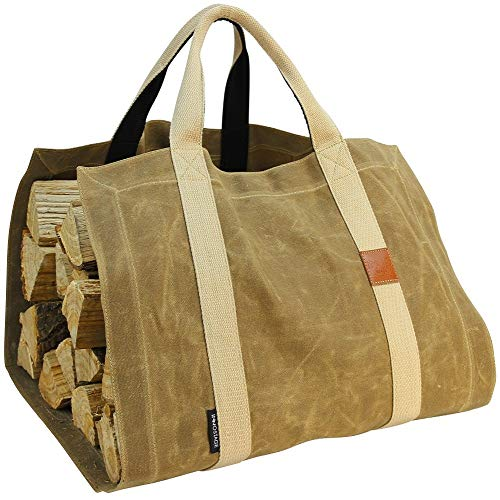INNO STAGE Waxed Canvas Firewood Log Carrier Tote Bag with Durable Double Straps for Reinforce  Both Front and Back for Fireplace or Camping