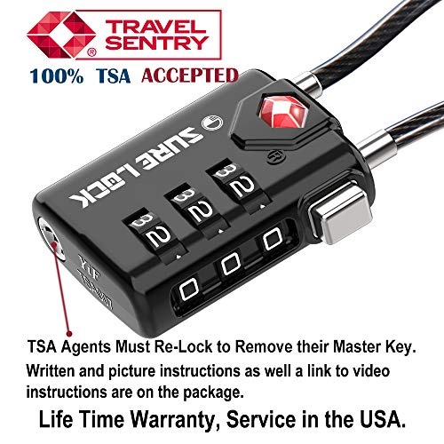 SURE LOCK TSA Compatible Travel Luggage Locks, Inspection Indicator, Easy Read Dials - 2 pack