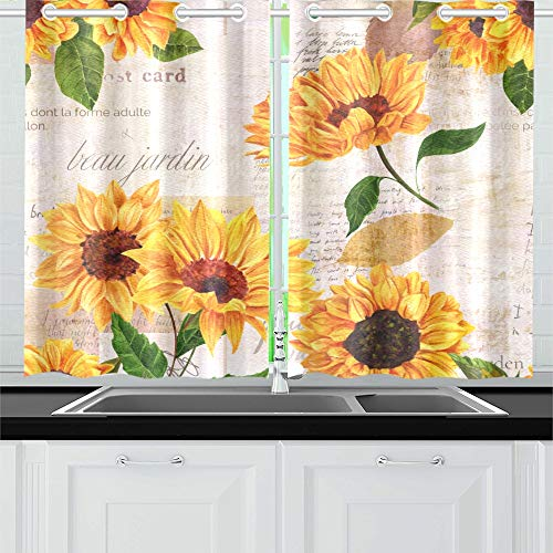 YUMOING Hand Drawn Vibrant Yellow Watercolor Sunflowers Kitchen Curtains Window Curtain Tiers for Café, Bath, Laundry, Living Room Bedroom 26 X 39 Inch 2 Pieces