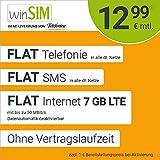 Handyvertrag winSIM LTE All 7 GB - ohne Vertragslaufzeit (FLAT Internet 7 GB LTE mit max 50 MBit/s mit deaktivierbarer Datenautomatik, FLAT Telefonie, FLAT SMS und EU-Ausland 12,99 Euro/Monat)