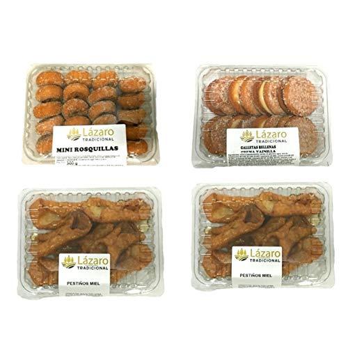 Lázaro Pack Surtido de Rosquillas, Galletas Fritas (Rellenas de Crema de Vainilla) y 2 Bandejas de Pestiños de Miel, Limón, 1000 Gramos