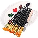 Set de pinceles, incluye 12 pinceles, 2 paletas, 1 cuchillo de paleta, pinceles para acrílico, acuarela, pintura al óleo, niños, principiantes, artistas, amantes de la pintura (negro)