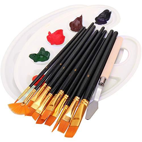 12 pennelli, 2 palette di miscelazione, 1 spatola, pennello per acrilico, acquarello, tempera, pittura a olio, pennelli per bambini, principianti, artisti, amanti della pittura, dilettanti (nero)