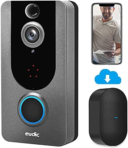 Video Doorbell Camera Wireless WiFi with Chime 1080P [2021 Upgraded] No Monthly fee IP5 Waterproof WiFi Security Camera Real-Time Video for iOS & Android Phone