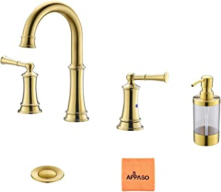 Gold Bathroom Sink Faucet Widespread, 3-Hole 2 Handles Vanity Lavatory Vessel Bath Faucets with Pop Up Drain Assembly and Soap Dispenser, APPASO