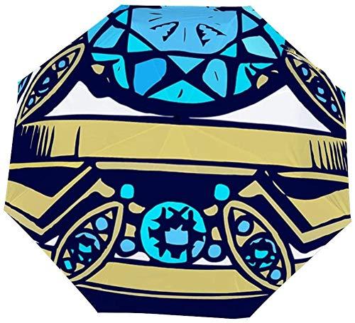 Paraguas manual de tres pliegues, anillo para amantes, paraguas plegable nano plegable, protector solar que cubre el sol y la lluvia