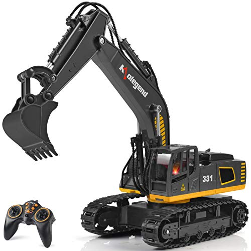 kolegend Remote Control Excavator Toy Truck, 1/18 Scale RC Excavator Construction Vehicles for Boys Girls Kids RC Tractor with Lights Rechargeable Battery (Black)