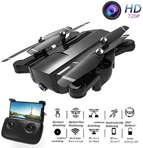 ZGYQGOO Drone avec caméra pour Adultes, Gyroscope à 4 Axes, mosans tête, vidéo HD en Direct et GPS, caméra en Direct WiFi 720P WiFi 720P, avec Batterie intégrée 2200 mAh, Noir