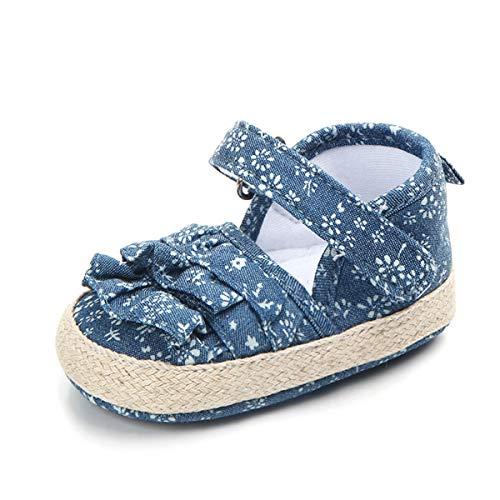 Sandales de Bébé Fille, Chaussures Bébé Fille Été Premiers Pas en Impression sur Toile Mode pour Tout-Petit Nouveau-né Shoes de 0-18Mois, Semelle Souple Antidérapante
