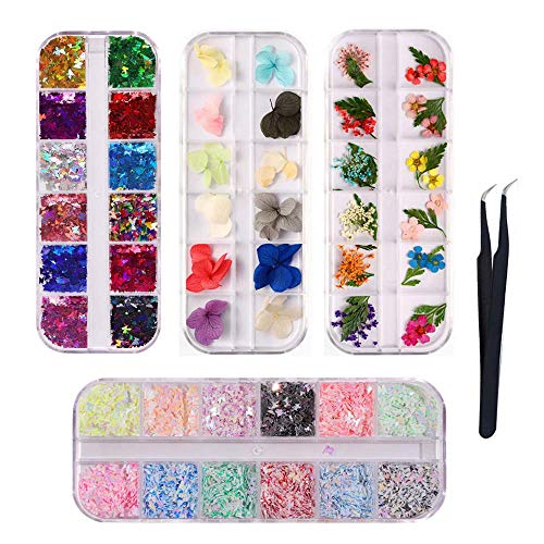 4 Boxes Holographic Nail Sequins Dried Flowers Nail Art 3D Butterfly Nail Glitter Sequins Acrylic Paillettes Laser Nail Art Flake with1Tweezers for Tips Manicure Decor