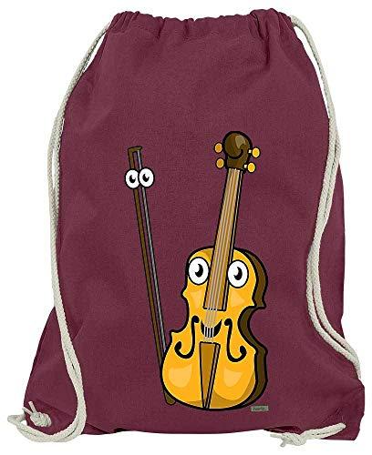 HARIZ Turnbeutel Geige Lachend Instrument Kind Witizg Plus Geschenkkarten Wein Rot One Size