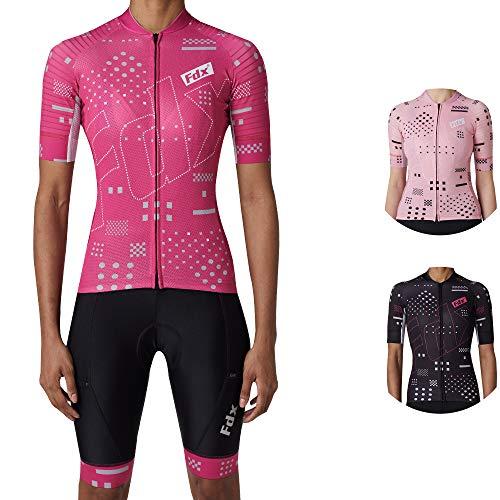 FDX Donne Tutto il Giorno Maniche Corte Ciclismo Jersey/Bib Breve, Traspirante Quick Dry Estate Bike Suit per le Signore Strada Ciclismo Suit-Rosa XL