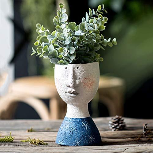 Greenwish - Maceta para interiores y exteriores, diseño creativo, diseño de cara, florero secado, para plantas, floreros de cabeza grande, 17,8 x 9,5 x 10 cm