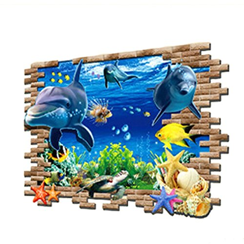 Colorfulworld 3D Art Hai Meer Hai Fisch Delphin Wandtattoo Removable Wall Sticker Kinderzimmer Geschenk Waterproof Wallpaper (Dolphin1)