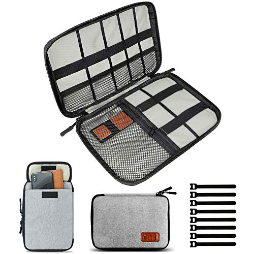 Travel Cable Organizer Bag, Small Electronics Accessories Carry Cases Portable Cord Organizer Bag for Cable, Charger, Phone, USB, SD Card ,with 8pcs Cable Ties (Gray)