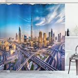 ABAKUHAUS Stadt Duschvorhang, Panorama Dubai Verkehr, mit 12 Ringe Set Wasserdicht Stielvoll Modern Farbfest & Schimmel Resistent, 175x180 cm, Ringelblume Elfenbein Blau