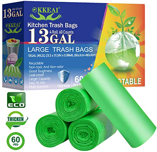 OKKEAI Biodegradable Trash Bags 13 Gallon/49.2 Liter,0.98 Mil Thicken Tall Kitchen Garbags Recycling Trash Bags for Lawn Kitchen,Home,Office,Green,60 Counts