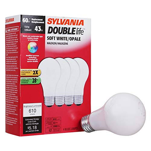 SYLVANIA Halogen Lamp Double life / Dimmable Light Bulb A19 / Energy-saving replacement for 60W Incandescent / Medium base E26 / 43 Watt / 2750K - soft white, 4 Pack
