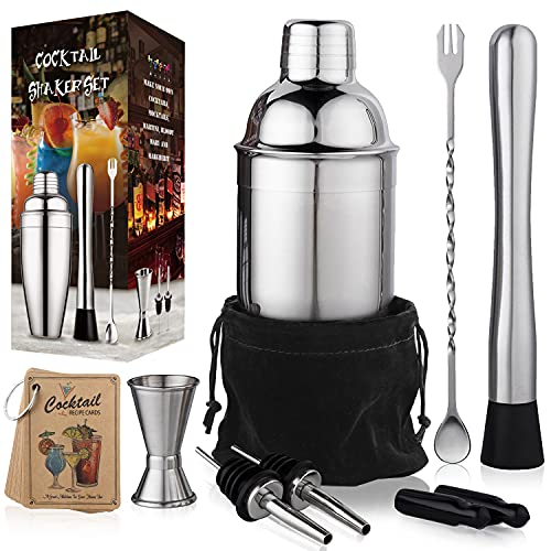 24 oz Cocktail Shaker Bartender Set by Aozita, Stainless Steel Martini Shaker, Mixing Spoon, Muddler, Measuring Jigger, Liquor Pourers with Dust Caps and Manual of Recipes, Professional Bar Tools