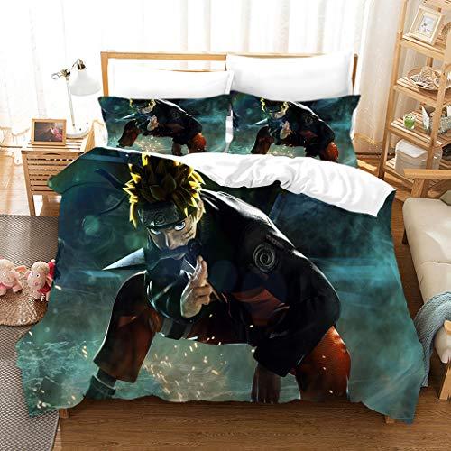 Jiaxiin Naruto - Uzumaki Naruto Squat Down Anime 3pcs Bedding Duvet Cover Sets Soft Quilt Cover with Zipper Cotton Pillowcase (EU-SuperKing)