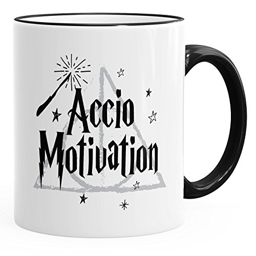 MoonWorks Kaffee-Tasse Spruch Accio Motivation Teetasse Keramiktasse schwarz Unisize