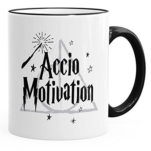 MoonWorks Kaffee-Tasse Spruch Accio Motivation Teetasse Keramiktasse schwarz Unisize