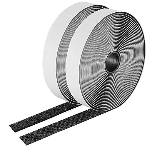 26 Feet Sticky-Back Hook and Loop Strips Roll, 1 Inch Black Self Adhesive Hook Loop Tape Double Sided Hook Loop Fastener Tape for Indoor Outdoor Home School Office
