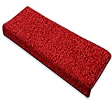 casa pura Alfombras para escaleras - Alfombrillas para peldaños | Barcelona | Set 15 Piezas | Autoadhesivas y Antideslizantes | Ultra Suaves | Distintos Colores (Rojo - Rectangular - 23.5x65 cm)