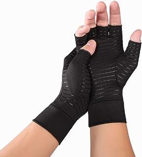Risareyi 女性リウマチや変形性関節症のための2 PACK圧縮関節炎手袋、指なし手袋 - 関節痛や手根管救済ハンドグローブユニセックス (Color : Black, Size : M)