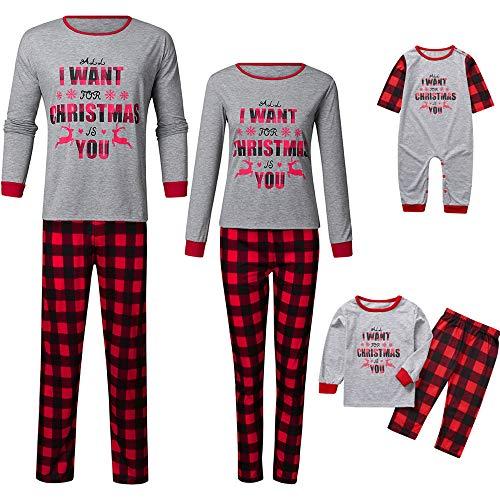 TLLW - Pijama de Navidad a juego con 2 piezas de algodón de manga larga Tops a rayas para mujeres, hombres y niños Bebé. 9 meses
