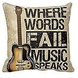 Beautyrain 1 pc Taie d'oreiller Vintage housse de coussin Taie d'oreiller Où les mots tombent Musique Speaks Quote Throw 18x18