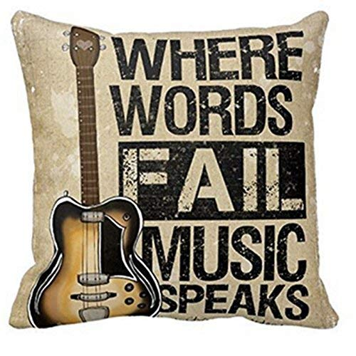 Forfar 1 Stück Kissenbezug Vintage Kissenbezug Gitarre Kissenbezug Wo Worte Fallen Musik spricht Zitat Wurf 18x18