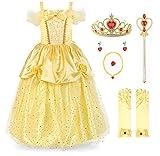 JerrisApparel Niña Princesa Belle Disfraz Lentejuela Tul Fiesta Vestido (4 años, Amarillo con Accesorios)