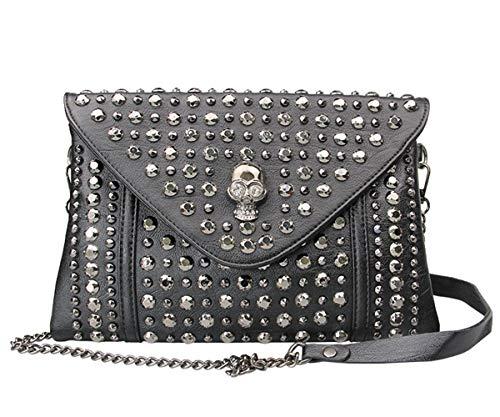 FiveloveTwo Punk Clutch Handtaschen für Frauen Damen Niet Kette Umhängetasche Schultertasche Kleines PU-Leder Henkeltasche Shopper Shoulder Bag Black