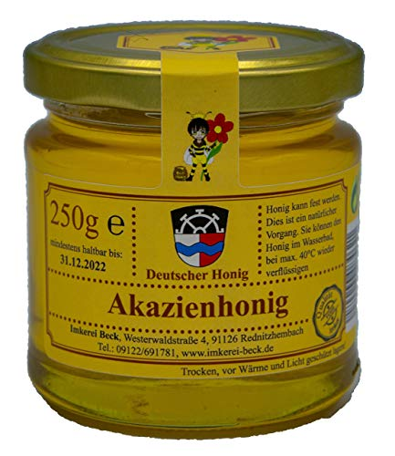 Echter Deutscher Imkerhonig - Honig vom Imker aus Bayern (250g milder Akazienhonig)