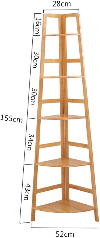 Lagerregal ZHIRONG Multifunktionsbambus-Eckregale Schlafzimmer-Wohnzimmer-Bücherregal-Anlagen-Ausstellungsstand-Organisator-Regale (gre   56  155cm)