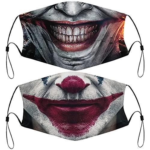 Clown Face Mask Comfortable Bandanas Balaclava For Men Women 2PCS