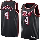 Ropa Uniformes de baloncesto para hombres, Miami Heat # 4 a.j.Hammons NBA Basketball Jerseys sin mangas Camisetas sueltas Tops Poders Timbre Chalecos deportivos transpirables, Negro, L (175 ~ 180 cm)
