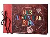 LINKEDWIN Nuestro libro de aventuras, our adventure book, cubierta de cuero con palabras convexas, álbum de álbum de recortes vintage temático, libro de visitas de boda, cartulina artesanal retro