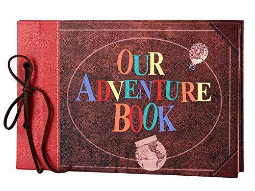 LINKEDWIN Ons avonturenboek, lederen omslag met bolle woorden, up-thema vintage plakboekalbum, gastenboek voor bruiloft, retro ambachtelijke kaarten, our adventure book, 60 pagina's