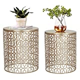 Joveco End Tables Set of 2 Coffee Table Decorative Nesting Round Gold Nightstands (Pale Gold)