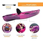 Lifetime Lotus Sit-On-Top Kayak with Paddle 18 Kayak Paddle included. Hull design provides ultra stability and great tracking Multiple footrest positions for different size Paddlers. Includes hard adjustable backrest Scupper holes drain Cockpit area. Molded Paddle cradle. Easy carry handle