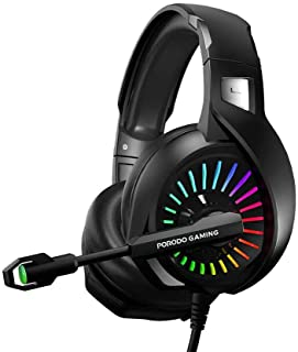 Porodo PDX410-BK Wired Gaming Headset, 3.5 mm Audio Jack, RGB Breathing Lights, Mic for Xbox One/PS4/PS5/PC/Tablet/ Smartp...