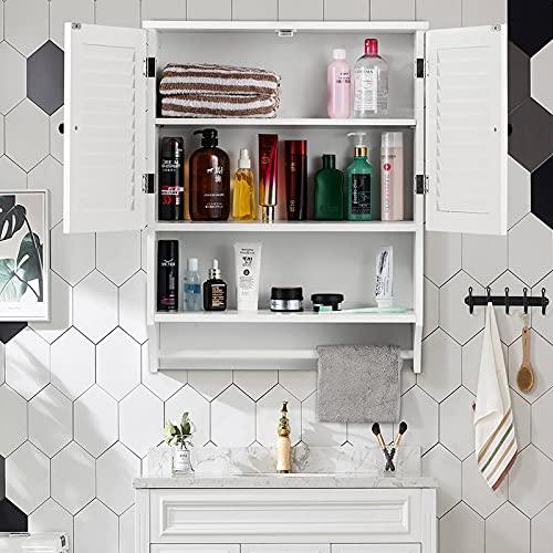 ChooChoo Bathroom Medicine Cabinet 23.6' L x8.9 W x29.3 H Wall Bathroom Cabinet, Double Doors Bathroom Cabinet Wall Mounted with Adjustable Shelves and Towels Bar
