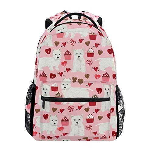 Bookbag Highland Terrier Dog Pink Stylish Shoulder Bag Durable Casual Travel Printed Student Bookbag Unique Backpack Lightweight School Gift College