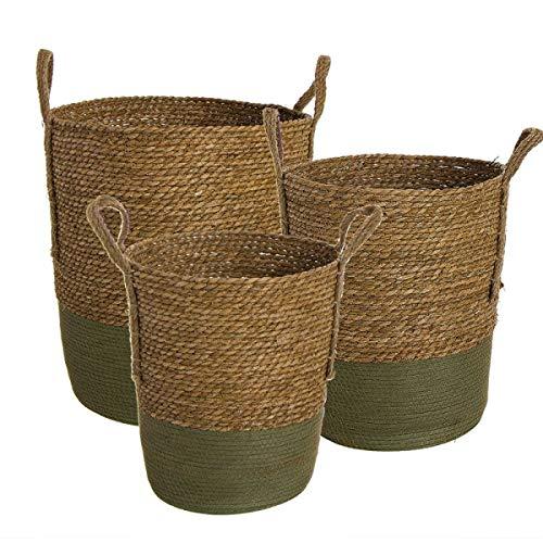 Deco Line Set 3 multifunctionele manden, maisvezel/papier, bruin/groen, 3 maten tot 42 cm